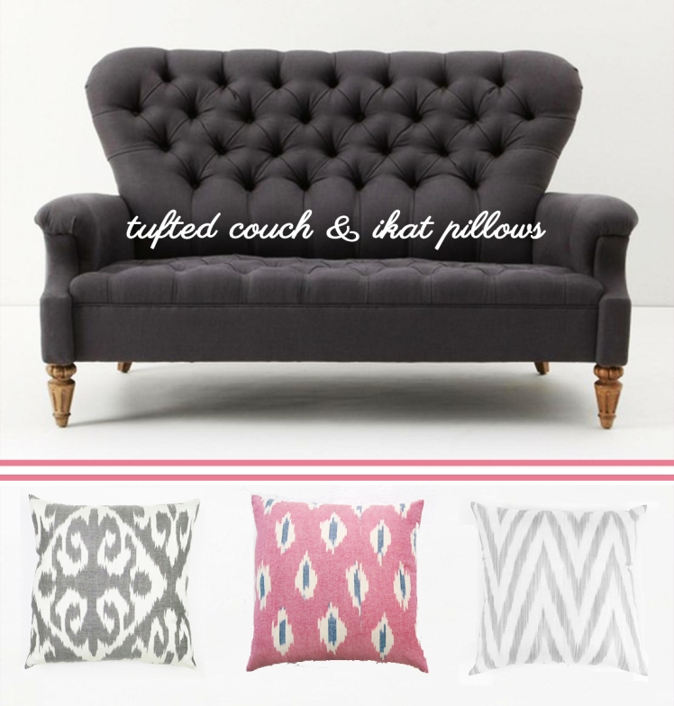 tufted couch and ikat pillows