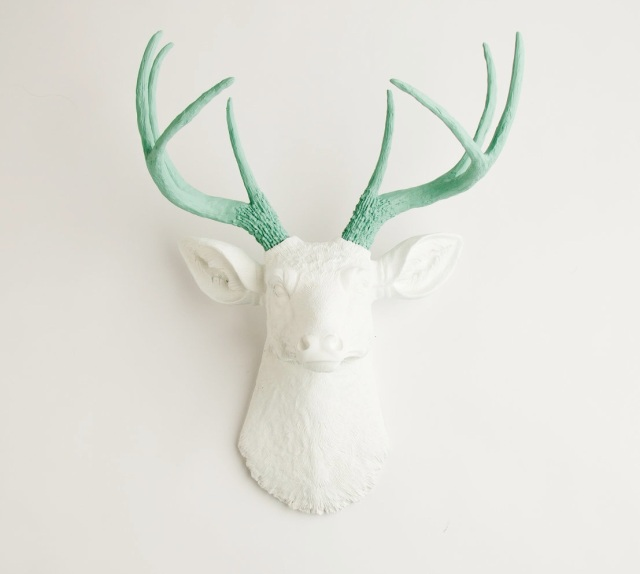 deer head with seafoam green antlers