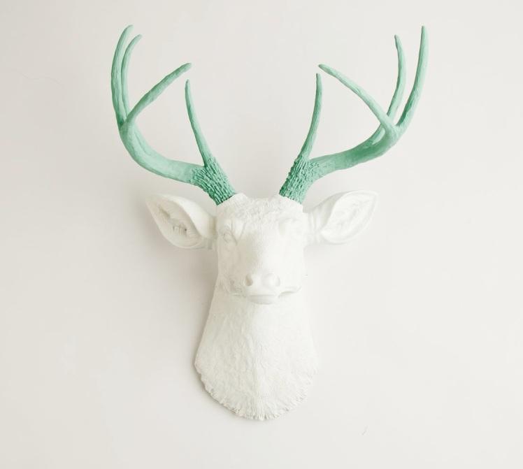 deer head with seafoam green antlers