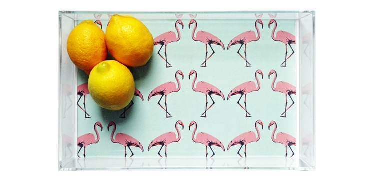 Mint Flamingo Lucite Tray