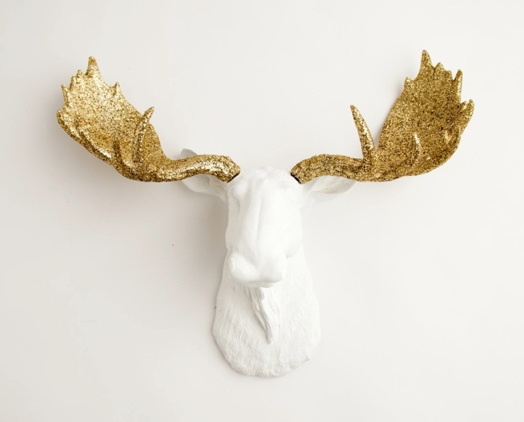 white moose with gold sparkles