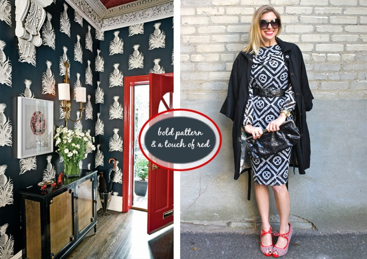 bold pattern & red accent