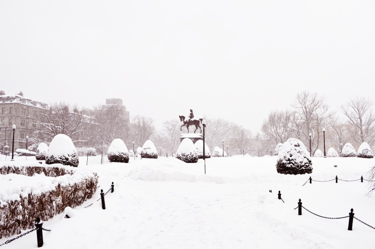 George Washington statue in the snow