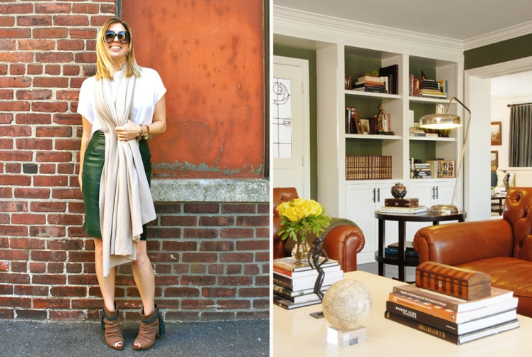 neutral and green accent