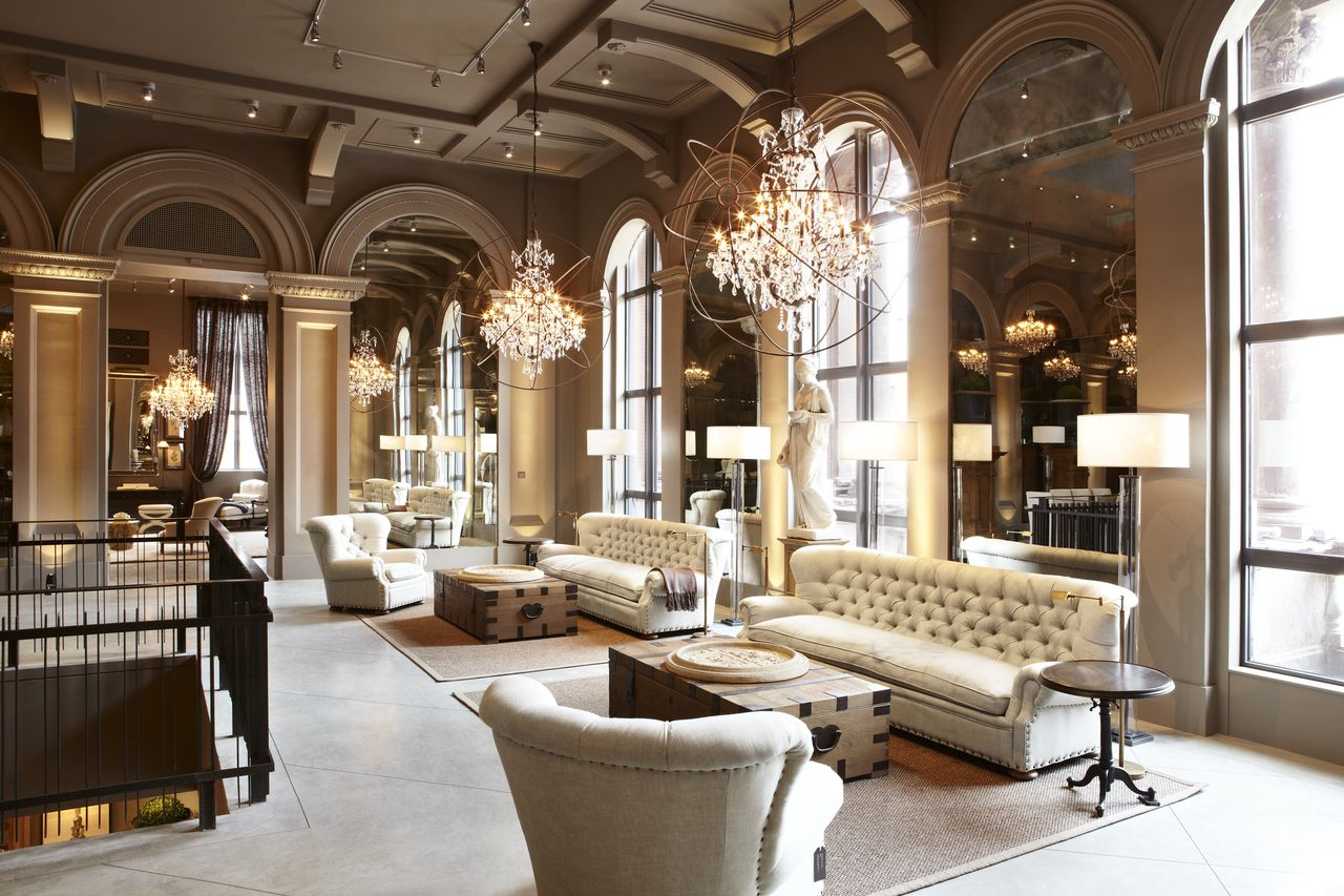 A tour of the restoration hardware flagship store in for Classic house furniture galleries