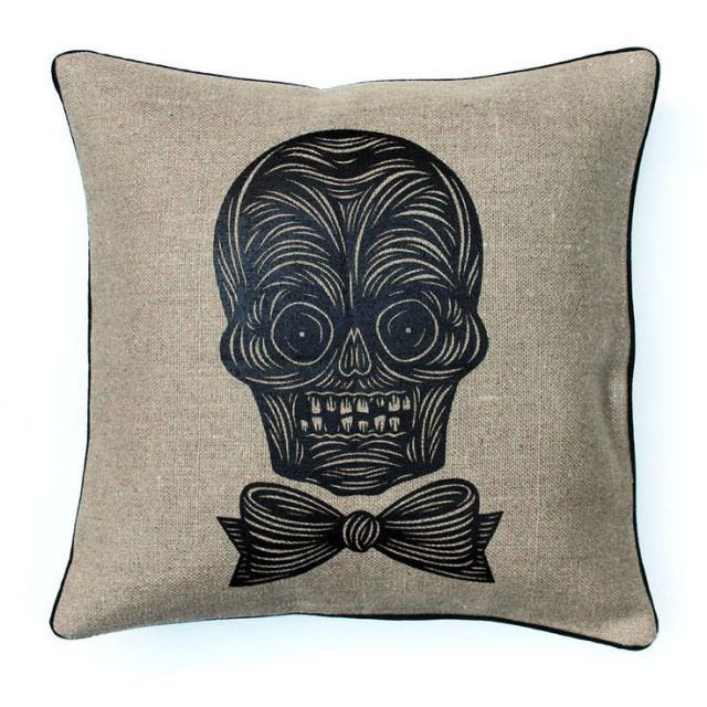 Patch NYC skull pillow