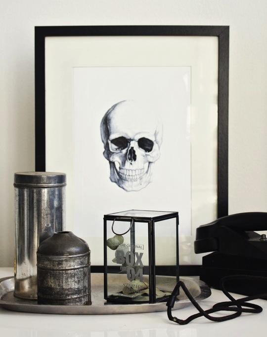 framed skull print