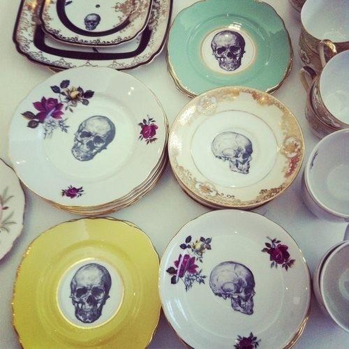 skull tea plates
