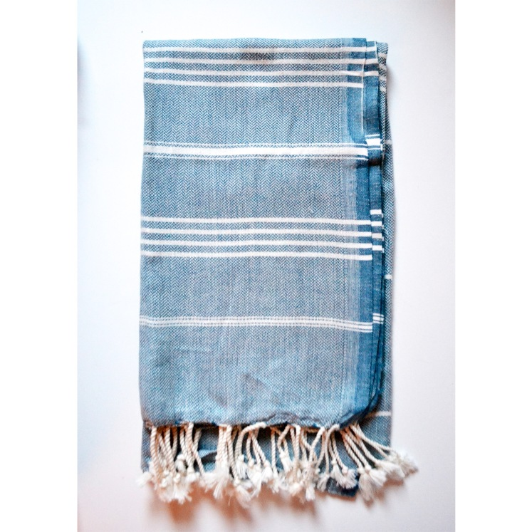 Turkish towel in blue and white stripe