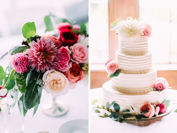 centerpiece and wedding cake