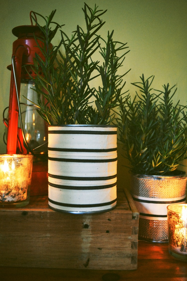 potted rosemary centerpiece