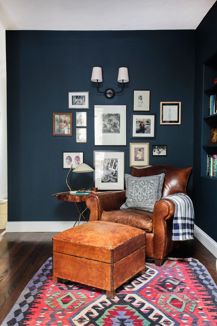 navy reading nook